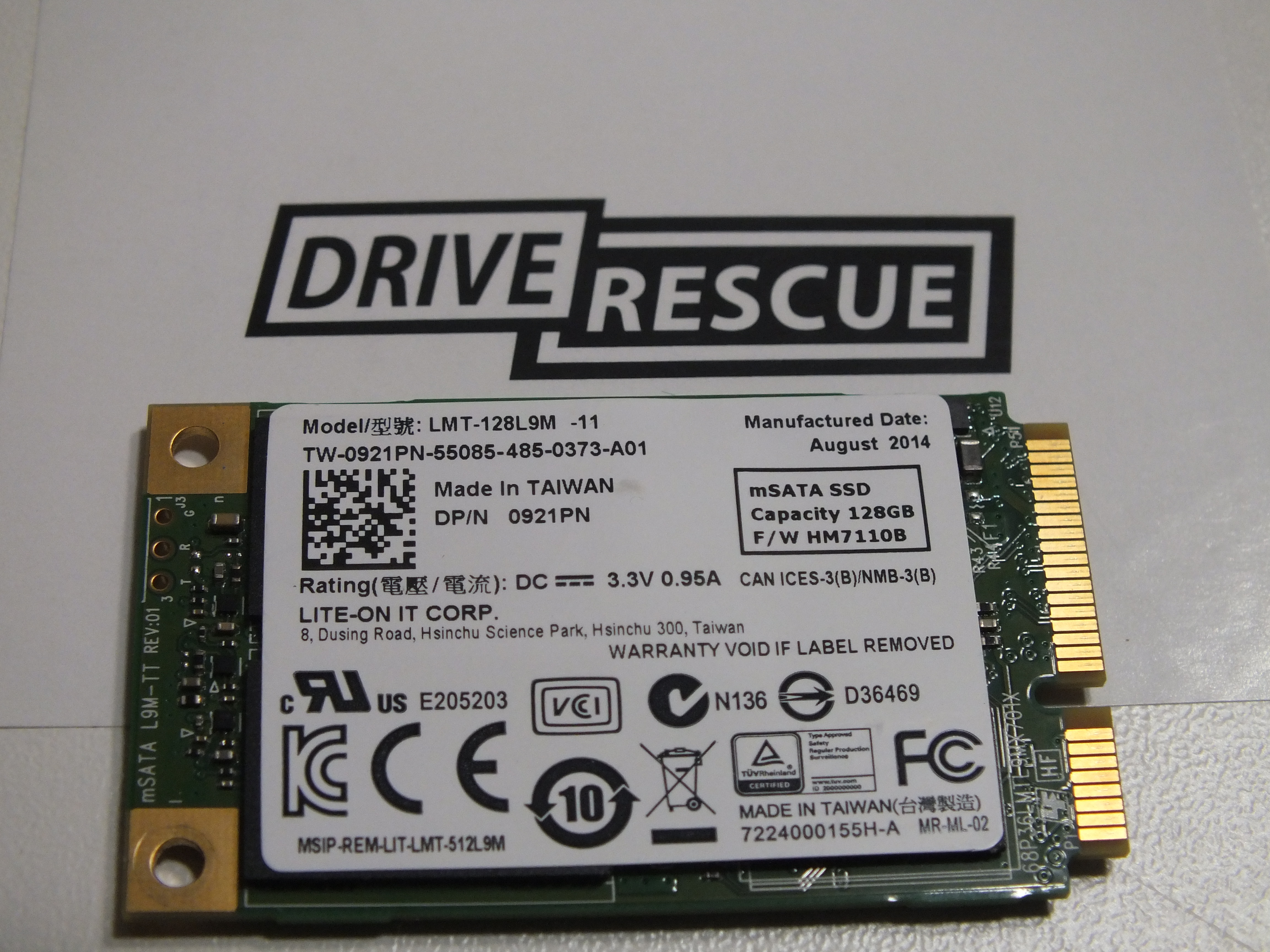Data recovery from 128gb Lite-On IT mSata SSD from Dell